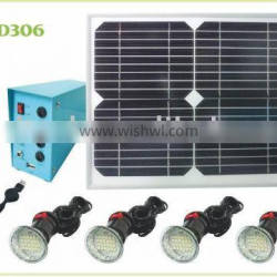 Protable LED solar home light for Africa,India ect market, working for 4 bulbs with 7-8 hours,and with USB to charge mobile