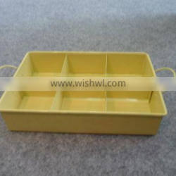 Attractive Yellow 6 Grids Interior Divider Rectangular Metal Serving Tray/Sundries Collector
