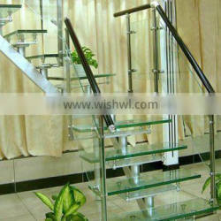 Curved glass stairs with glass railing