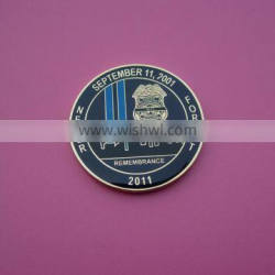 remembrance 9.11 enamel metal challenge coin with epoxy