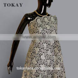 2017 beige heavy african organza fabric for women