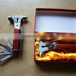 Stainless Steel Rescue Multi tool hammer with wooden handle
