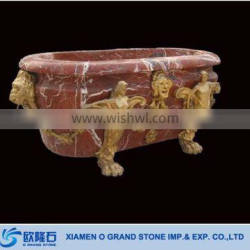 European Style Solid Simple Red Marble Bathtub