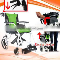 ALUMINUM foldable TYPE light weight transfer wheelchair, easy to pick up