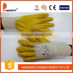 DDSAFETY Cotton Liner With Yellow Nitrile Coated Anti Oil Safety Working Glove For Industry Work Glove