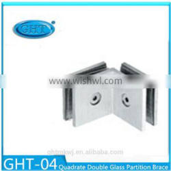 Factory Custom Glass Holder Fixer Connector Quadrate Double Partition Brace