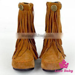 Whoelsale Suede Kids Cowboy Boots Tassel Moccasins Boots Baby Cowboy Boots