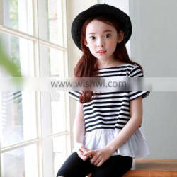 S17605A Wholesale new striped children kids short sleeve t shirt