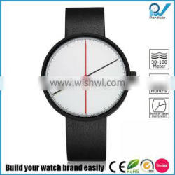 luxury Life Style PVD black stainless steel case genuine leather strap sapphire class watch
