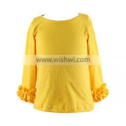 Wholesale 2016 baby boutique shirts china factory wholesale icing ruffle shirt solid color girls ruffle shirts