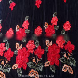 chinese red rose velvet satin embroidery lace fabric for wedding dress