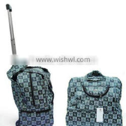 luxurious pattern PU leather trolley travel luggage bag for lady
