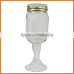 Wholesale glass mason jar with stem and lid