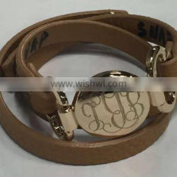 Thin leather wrap with Round plate Monogram Bracelet