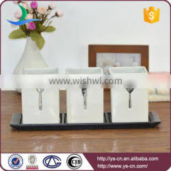 3pcs white slivery cutlery decal embossed ceramic cutlery holder