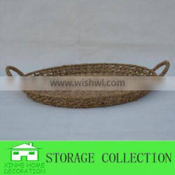 round table seagrass woven storage fruit tray with handle
