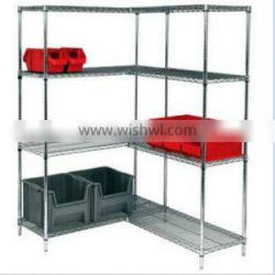 chrome coating wire shelving with wheels for supermarket