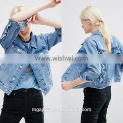 Fashion Point collar denim jacket with Frill Detail,Mid Stone-wash jean jacket wholesale