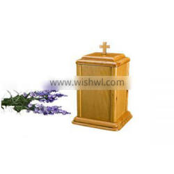 American style ash wood cremation urns for ahses top of cross