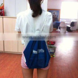 Embroidered Drawstring Bag with Blue Mesh Knitted Polyester