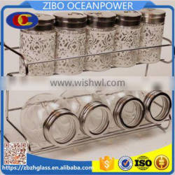 iron stand metal cover glass canister & spice jars set