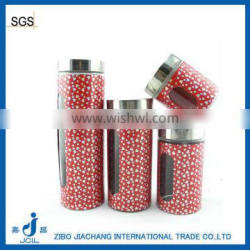 colored visiable stainless steel glass storage jars TP12003