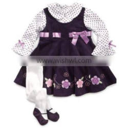 Wholesale Casual Design Child Clothes Flower Wave Chic Lace Girl Party Dress