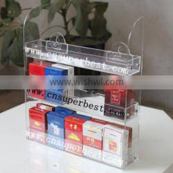 OEM/ODM clear wall-mounted acrylic cigarette rack with 3 tiers