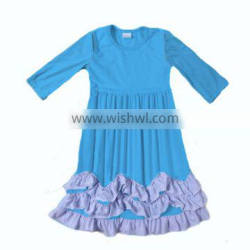 2016 Newest childresn fashion dress blue color maxi dress baby girls party dress design