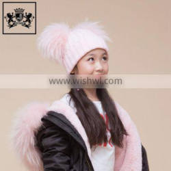 Make-To-Order Toddler Beanie Cheap Knitted Hats Real Fur Two Poms Kids Hat Winter