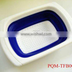 Durability rubber and plastic square collapsible colander 001A