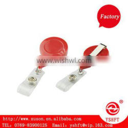 red fashion round shape retractable bade id holder with belt clip and clear PVC