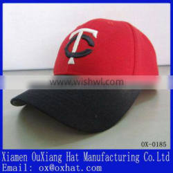 black hats red golf cap with 3D letter embroidery