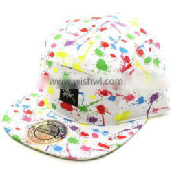 Floral Fabric 5-panel Snapback Cap With Woven Lable