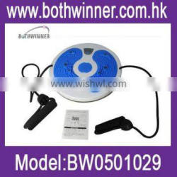 Waist twisting disc with resistance cord