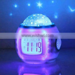 Hot Custom Personalized Children Room Sky Star Night Light Projector Alarm Clock with Sleeping Music and Thermometer Factory