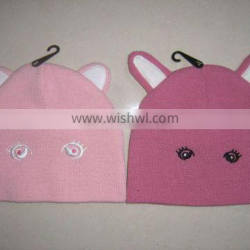 beautiful new winter acrylic hat cute animals shape with ears on top for babies for kids
