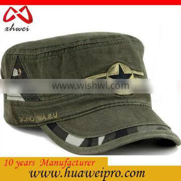 Made in china oem camo army hats wholesale flat top cap Jean washed military hat
