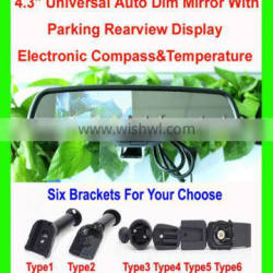 """New Universal 4.3"""" Auto Dim Rearview Mirror+Parking Rearview Display +Electronic Compass/Temperature"""