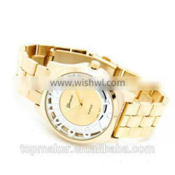 New Arrival Geneva See-through Dial Full Gold Luxury Watch