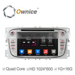 Ownice Quad core android 4.4 Car DVD for Ford Focus support TV OBD wifi DAB rear camera tmps 1024*600