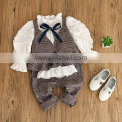 2017 Wholesale girls stripe clothing set puff sleeve blouse and elasticated waist pants 2pcs outfits
