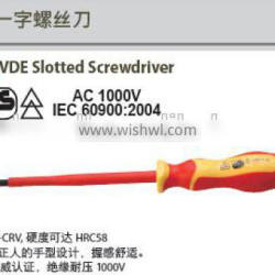 High quality Steel Insulated Slotted Screwdriver; Die forged; VDE Certificate; China Manufacturer;OEM service; AC 1000V; IEC