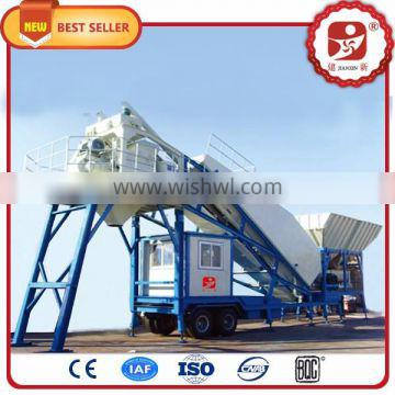 Mini mobile concrete batching plant with 35 cubic meter capacity