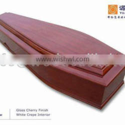 EC008 wooden Coffins with gloss cherry finish and crepe interior