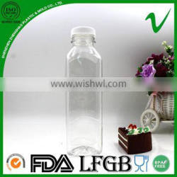 Hot sale square clear bottle plastic 500ml with 38mm tamper proof lid