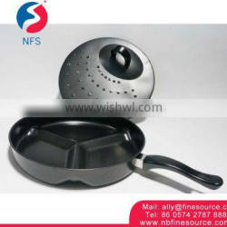 3 Section Divided Non-Stick Aluminium Fry Cook Baking Pan Grill Frying