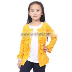 Wholesale boutique girl clothing solid ruffle cotton Long Sleeve blouses