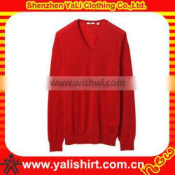 2013 OEM comfortable red v-neck plain soft loose fashion women sweater pullover style