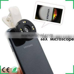Mobile Phone Microscope Magnifier Lens 68X Universal Clip LED Lens For iPhone 6 5S 4S Sumgung